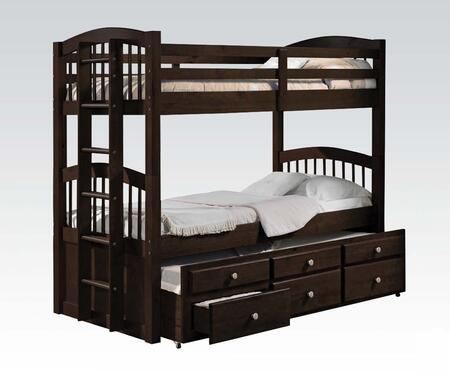 Micah Collection 40000 Twin Over Twin Size Bunk Bed with 4 Casters  3 Drawers  Trundle  Reversible Side Ladder  Full Length Guard Rail and Pine Wood