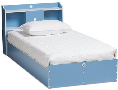 MHSBB2-BLUE/WHITE-BED Baxton Studio Aeluin Contemporary Children's Blue And White Finished Platform
