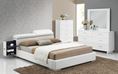 Manjot 20414CK4PC Bedroom Set with California King Size Bed with Attached Nightstand + Dresser + Mirror + Chest in White