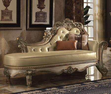 Vendome 96485 81 inch  Chaise with 2 Throw Pillows  Carved Apron  Button Tufted Back  Nail Head Accents  Solid Wood Construction and PU Leather Upholstery in Gold