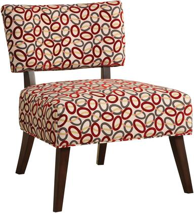 Able Collection 59074 29 inch  Armless Accent Chair with Multi Color Oval Pattern  Wooden Tapered Legs and Polyester Upholstery in Espresso