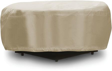 1199-TN 48 inch  Fire Pit Outdoor Cover with UV Treated  Water Resistant  Soft Fleece Polyproplene Backing and Heavy Duty Vinyl Fabric in Tan