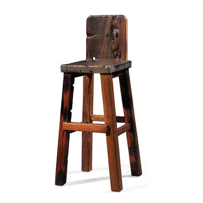 DS-A10 Nox High Bar Stool with Low Back  Angled Legs and Stretchers in Brown