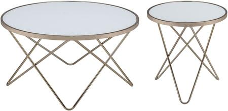Valora Collection 2 PC Living Room Table Set with Coffee Table + End Table in Champagne and Frosted Glass