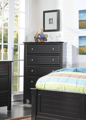 Mallowsea 30396 38 inch  Chest with 5 Drawers  Side Metal Glide Drawer  Simple Metal Pulls and Pine Wood Construction in Black