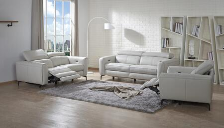 Lorenzo Collection 18824-SLC 3-Piece Living Room Set with Reclining Sofa  Loveseat and Chair and in Light