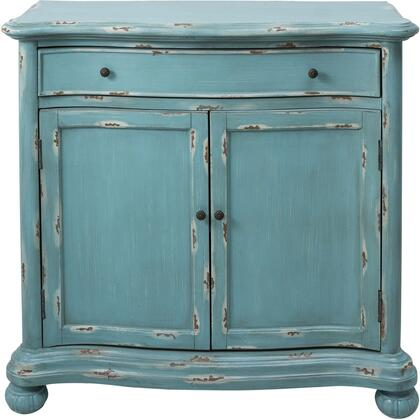 DS-D115003 French Country Door Chest with Carved Bun Feet  Antiqued Brass Finished Hardware and One Drawer in Distressed