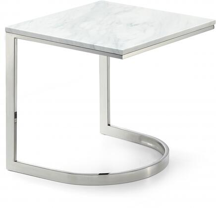 Copley Collection 245-E 20 inch  End Table with White Marble Top  Geometric Bases  Rectangular Shape and Stainless Steel Legs in Chrome