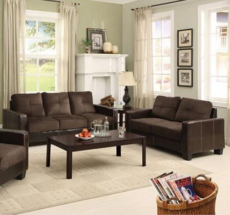 Laverne Collection CM6598DK-SL 2-Piece Living Room Set with Stationary Sofa and Loveseat in Chocolate and