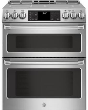 GE CHS995SELSS 6.7 Cu. Ft. Slide-In Double Oven Electric Induction Convection Range Stainless Steel/Gray