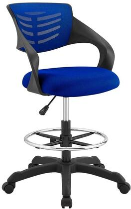 Thrive Collection EEI-3040-BLU Drafting Chair with 360-Degree Swivel Seat  5 Dual-Wheel Nylon Casters  Nylon Frame  Adjustable Height  Padded Mesh Backrest and