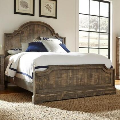 Meadow P632-94-95-78 King Sized Panel Bed with Headboard  Footboard and Side Rails in Weathered
