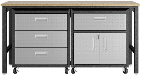Fortress 18GMC 3-Piece Garage Cabinet and Worktable with 2 Shelves  4 Drawers and 2 Doors in