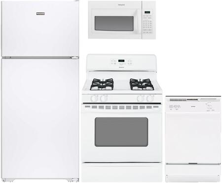 4-Piece White Kitchen Package with HPE15BTHWW 28 inch  Top Freezer Refrigerator  RGB508PEFWH 30 inch  Freestanding Gas Range  RVM5160DHWW 30 inch  Over the Range Microwave