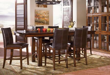 Mesa Rustica MESAM6770 75 inch -90 inch  Gathering Height Trestle Table with 18 inch  Self-Storing Leaf  Equalizing Cable Glides and Solid Mahogany Construction in Aged