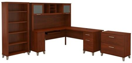 Somerset WC81710K-11-65-80 3-Piece Desk and Hutch Set with 5 Shelf Bookcase and Lateral File Cabinets in Hansen