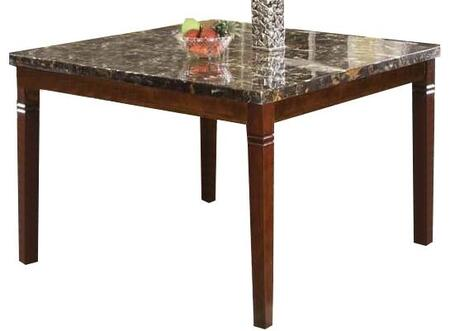 Doretta Collection 70768 54 inch  Counter Height Table with Black Marble Top  Tapered Legs and Wood Construction in Walnut