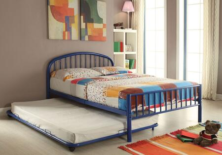 Cailyn Collection 30460T-BUTRN Twin Size Trundle Bed with Slat System Included  Curved Headboard  Low Profile Rectangular Footboard and Metal Tube Material in
