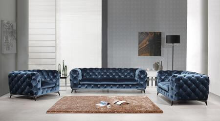 Glitz Collectio 184451-SLC-BL 3-Piece Living Room Set with Sofa  Loveseat and Chair in