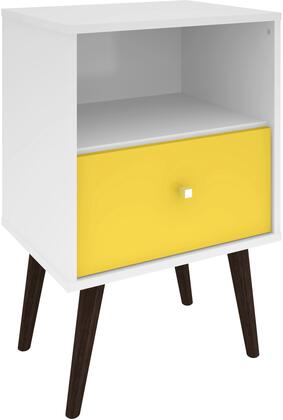 """Liberty Collection 203AMC63 18"""" Mid Century - Modern Nightstand 1.0 with Splayed Legs  1 Cubby Space and 1 Drawer in White and"""