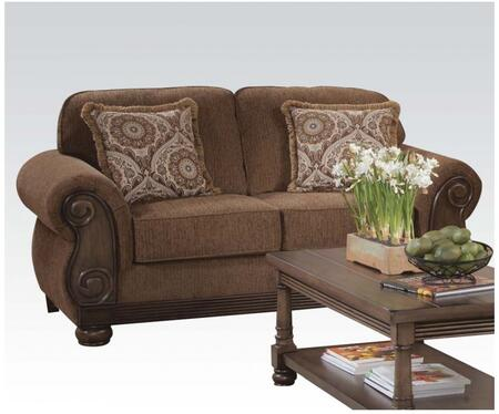 Emiko Collection 52356 69 inch  Loveseat with Pillows Included  Made in USA  Rolled Arms  Removable Seat Cushions  Round Bun Feet and Fabric Upholstery in