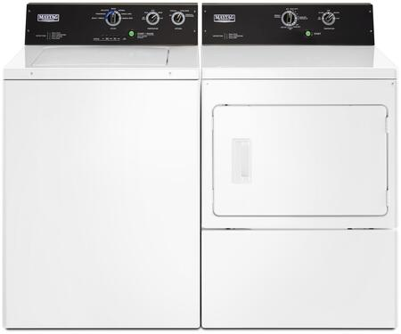 White Top Load Commercial Laundry Pair with MVWP575GW 27 inch  Washer and MGDP575GW 27 inch  Gas