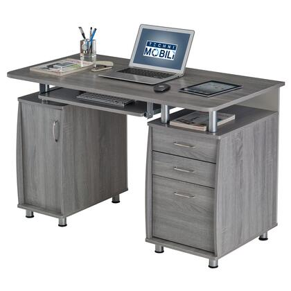 RTA-4985-GRY Techni Mobili Complete Workstation Computer Desk with Storage. Color: