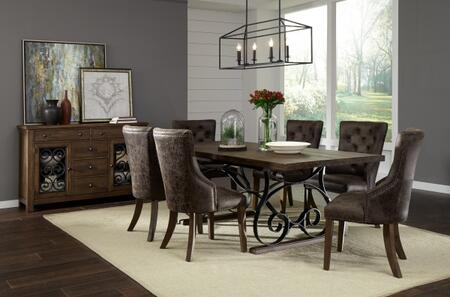 Hawkins Collection 20118901T8SET 8 PC Dining Room Set with Extendable Dining Table + Buffet + 6 Side Chairs in Warm Walnut