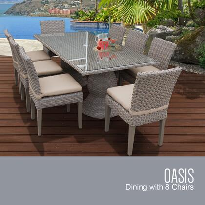 Oasis-rectangle-kit-8c-wheat Oasis Rectangular Outdoor Patio Dining Table With 8 Armless Chairs With 2 Covers: Grey And