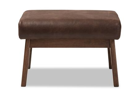 BIANCA-DARK BROWN/WALNUT BROWN-OTTO Baxton Studio Bianca Mid-Century Modern Walnut Wood Dark Brown Distressed Faux Leather