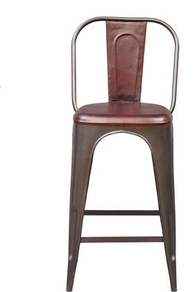 DS-P006043 Rowan Industrial Barstool with Leather Seat and Tapered Metal Legs in