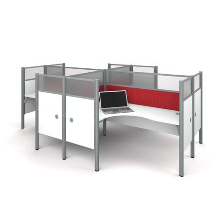 100859DR-17 Pro-Biz Four L-desk workstation in White with Red Tack