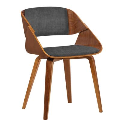 Ivy Collection LCIVCHWACH Mid-Century Dining Chair in Charcoal Fabric with Walnut