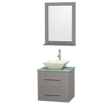 Wcr410030sesgggs6m24 30 In. Single Bathroom Vanity In Espresso  Green Glass Countertop  Arista White Carrera Marble Sink  And 24 In.