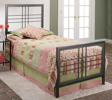 Tiburon Collection 1334BTWR Twin Size Bed with Headboard  Footboard  Rails  Open-Frame Panels  Clean Line Design and Metal Construction in Magnesium