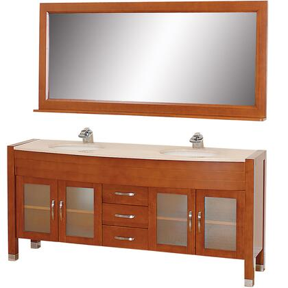 WCV220071CHIV 71 in. Double Bathroom Vanity in Cherry with Ivory Marble Top with White Porcelain Undermount Sinks and 70.75 in.