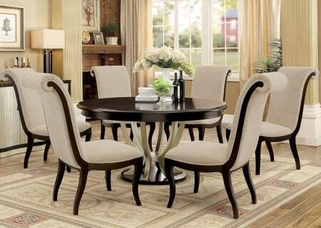 Ornette Collection CM3353RT6SC 7-Piece Dining Room Set with Round Table and 6 Side Chairs in Espresso and Champagne