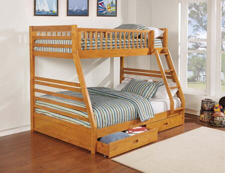 Ashton Collection 461183 Twin over Full Size Bunk Bed with 2 Under Bed Storage Drawers  Built-In Ladder  Safety Rails  Clean Line Design  Pine and MDF