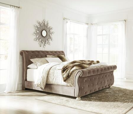 Cassimore Collection B750-77-74-75 Queen Size Upholstered Sleigh Bed with Fabric Upholstery  Faux Crystal Button Tufting and Bun Feet in