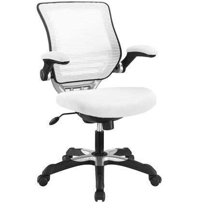 Edge Collection EEI-594-WHI Office Chair with Adjustable Seat Height  Flip-Up Arms  Casters  Tilt Tension Control  Mesh Backrest  Sponge Seat and Fabric Seat