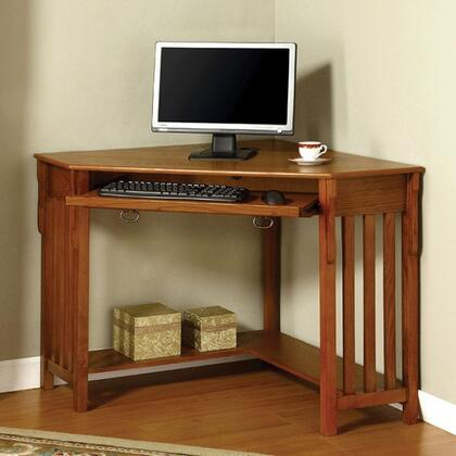 Toledo CM-DK6641 Corner Desk with Keyboard Tray  Solid Wood  Wood Veneer and Others  Open Bottom Shelf  Medium Oak Finish in Medium