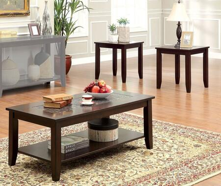 Townsend III Collection CM4669-3PK 3-Piece Living Room Table Set with Coffee Table and 2 End Tables in Dark