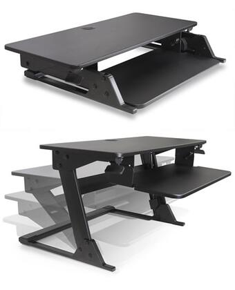 Volante VOLANTE-B Collection Desktop Sit-Stand Workstation with Compact Footprint  Gas Assisted Height Adjustment  Extendable Workspace and 20 Degree Keyboard