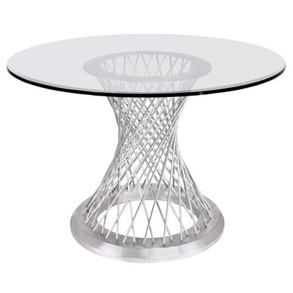 Calypso Collection LCCPDIBABS Contemporary Dining Table in Brushed Stainless Steel with Clear Tempered Glass