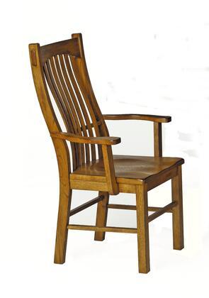 LAURO276K Laurelhurst Slatback Arm Chair  Contoured Solid Wood Seat  Rustic Oak