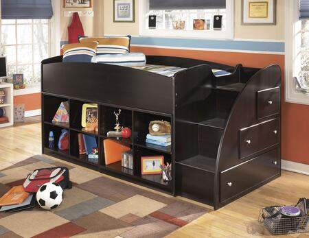 Embrace B239-68T-17-13R Twin Loft Bed with Loft Bed Top  Right Storage with Steps and Two Loft Bookcases in