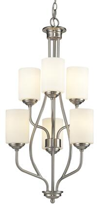 "Cardinal 434-6-BN 18"""" 6 Light Chandelier Transitional  Fusionhave Steel Frame with Brushed Nickel finish in Matte"" 790583"
