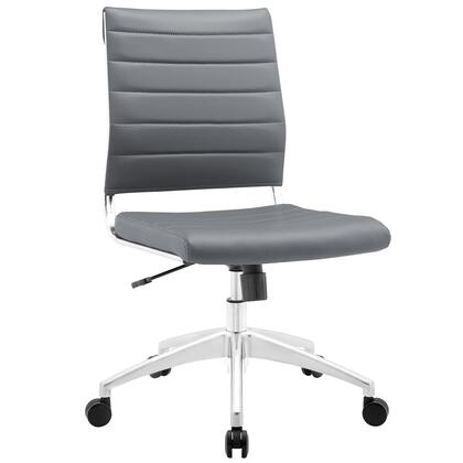 Jive Collection EEI-1525-GRY Armless Office Chair with 5-Caster Dual Wheel Base  Mid-Back Chrome-Plated Aluminum Frame  Tilt Lock Tension Control  Adjustable
