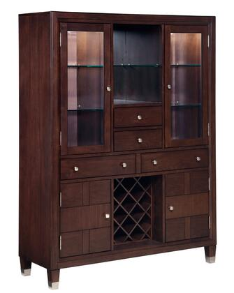 """Northern Lights 5312-60 52"""" Wide Dining Chest with 2 Glass Doors  2 Wooden Doors  Adjustable Glass Shelves  Removable Wine Rack and 4 Drawers in Walnut Stain"""