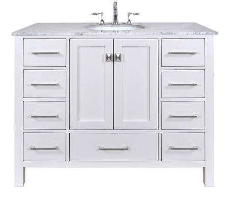 Malibu GM-6412-48PW-CR 48 inch  Single Sink Vanity with 9 Drawers  Italian Carrara White Marble Countertop and Brushed Nickel Hardware in Pure